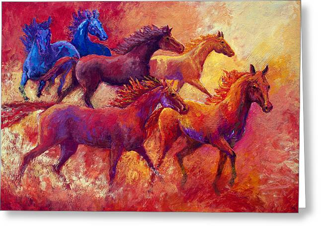 Horse Herd Greeting Cards - Bring the Mares Home Greeting Card by Marion Rose