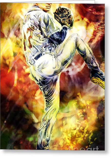 Pitcher Mixed Media Greeting Cards - Bringin The Heat Greeting Card by Mike Massengale