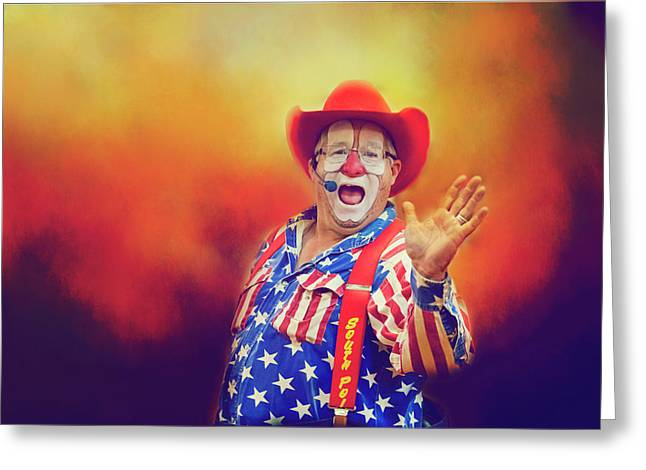 Greeting Card featuring the photograph Bringing Fun To The Rodeo Greek Ellick Jr.  by Toni Hopper