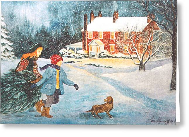 Bringing In The Tree Greeting Card by Lois Mountz
