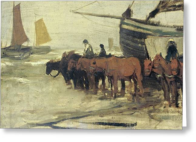 Bringing Into The Sea From A Fishing Smack Greeting Card