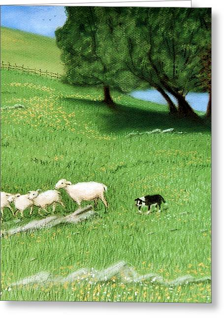 Greeting Card featuring the pastel Bringing Them In  by Jan Amiss