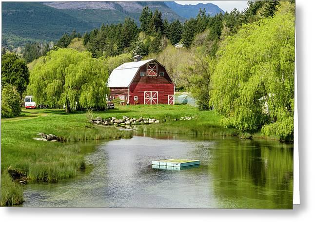 Brinnon Washington Barn By Pond Greeting Card