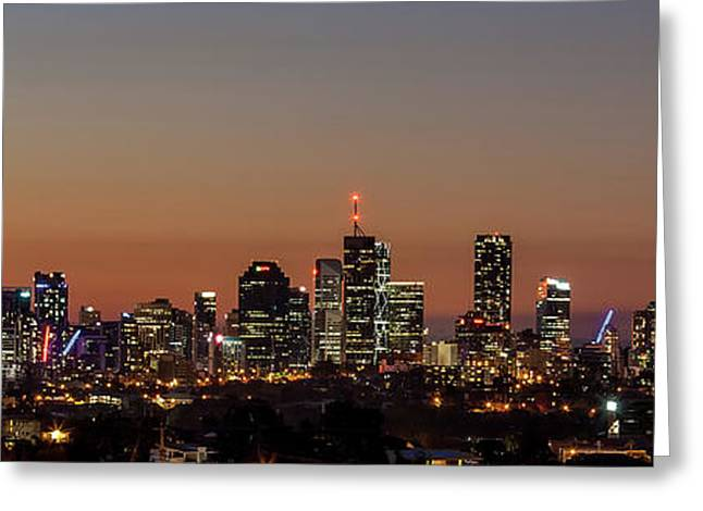 Brisbane City Skyline Greeting Card by Az Jackson
