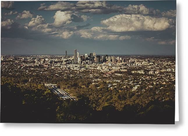Brisbane Cityscape From Mount Cootha #3 Greeting Card by Stanislav Kaplunov