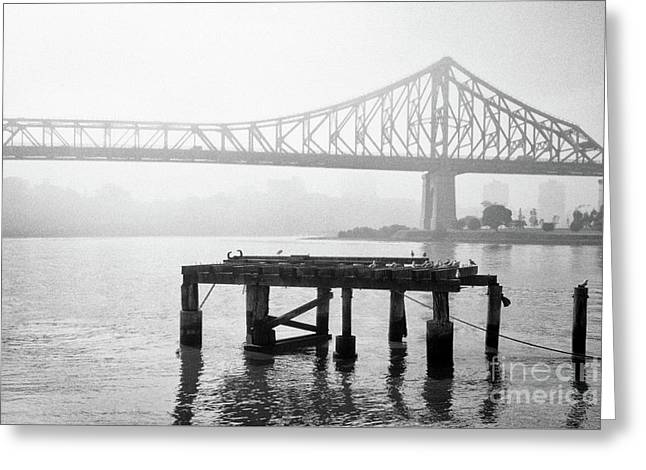 Brisbane Storey Bridge In Mist Greeting Card by Rick Piper Photography