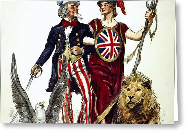 Britannia And Uncle Sam - Friends And Allies  1918 Greeting Card by Daniel Hagerman