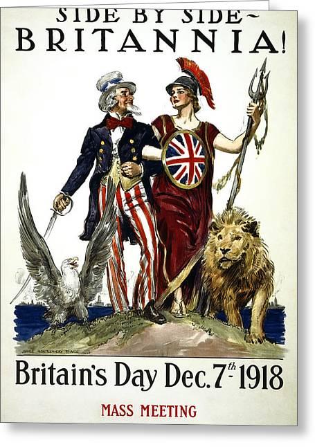 Britannia And United States - W W 1 Solidarity  1918 Greeting Card by Daniel Hagerman