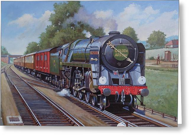 Britannia Pacific On The Golden Arrow. Greeting Card by Mike  Jeffries