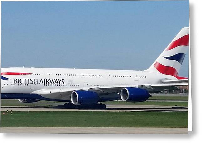 British Airways Airbus A380 Greeting Card
