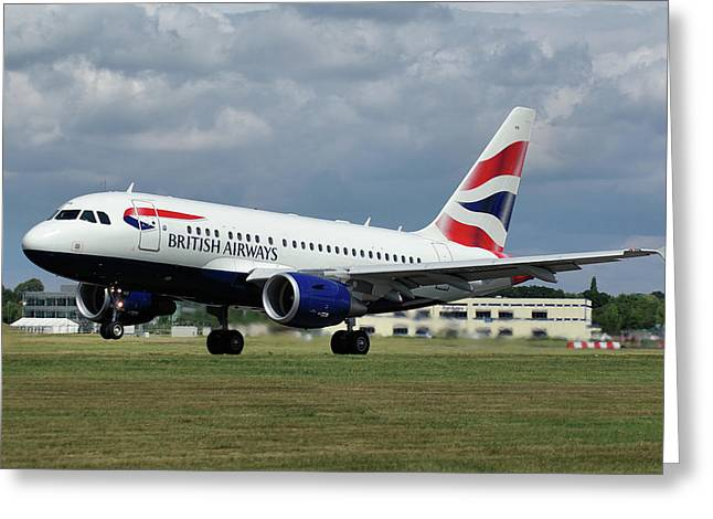 British Airways A318-112 G-eunb Greeting Card