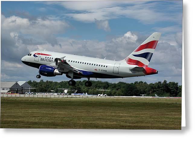 British Airways Airbus A318-112 G-eunb Greeting Card
