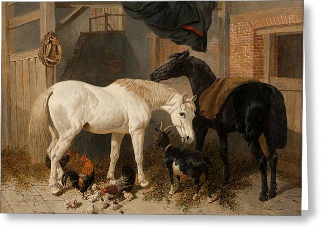 British Barn Interior With Two Horses Greeting Card