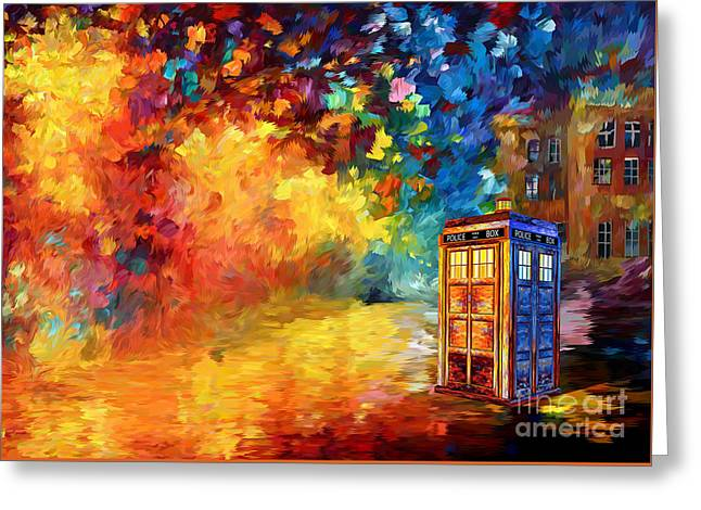 British Blue Phone Box Greeting Card by Three Second