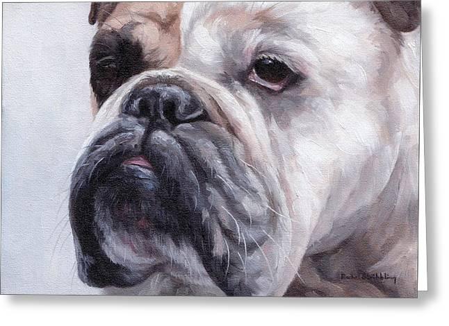 British Bulldog Painting Greeting Card