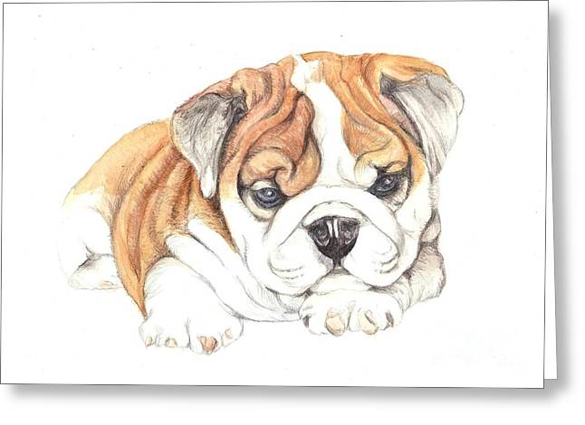 British Bulldog Puppy  Greeting Card by Morgan Fitzsimons