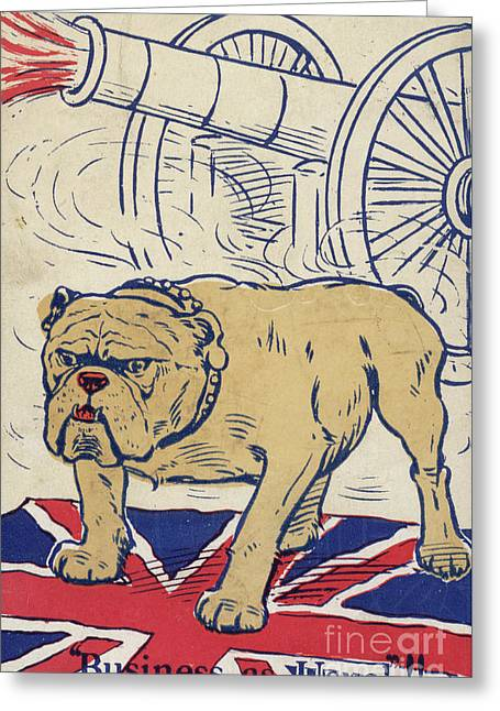 British Bulldog Stading On The Union Flag And With A Cannon Firing Greeting Card by English School