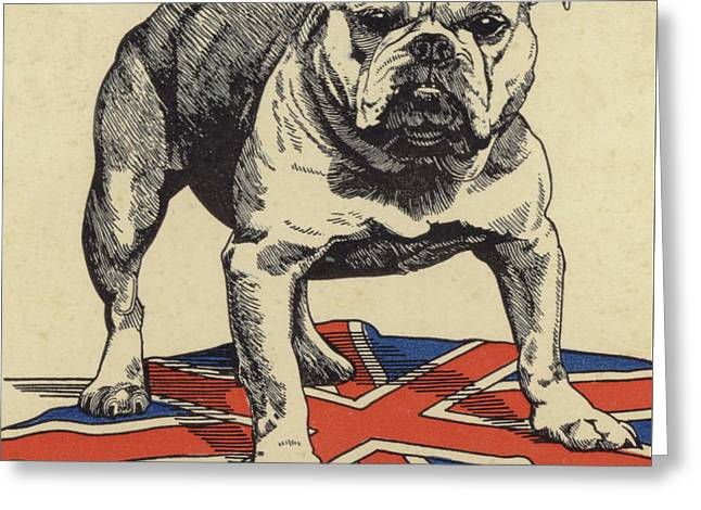 British Bulldog Standing On The Union Jack Flag Greeting Card by English School