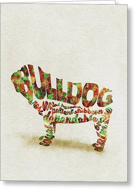 British Bulldog Watercolor Painting / Typographic Art Greeting Card