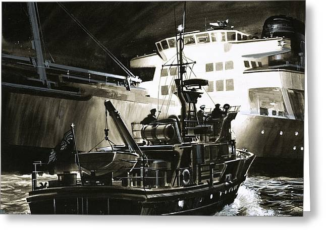 British Coastguard Patrol  Greeting Card by Wilf Hardy