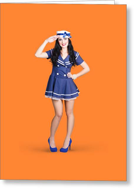 British Navy Blue Pin Up Girl Saluting Greeting Card by Jorgo Photography - Wall Art Gallery