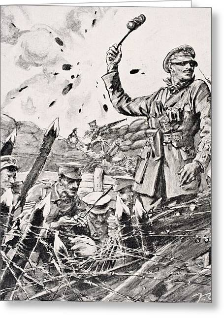 British Officer Hurling Grenades From Greeting Card by Vintage Design Pics