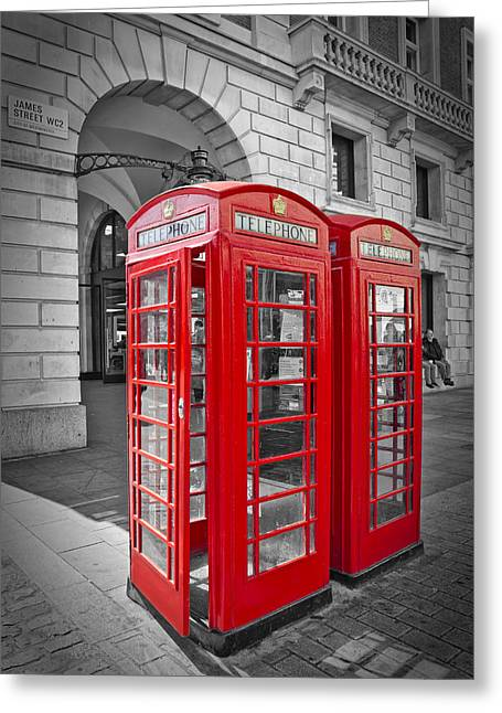British Phone Box Greeting Card by Melanie Viola