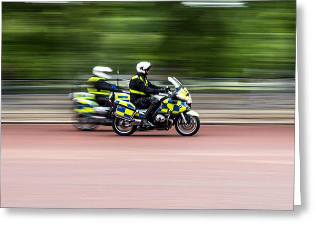 British Police Motorcycle Greeting Card