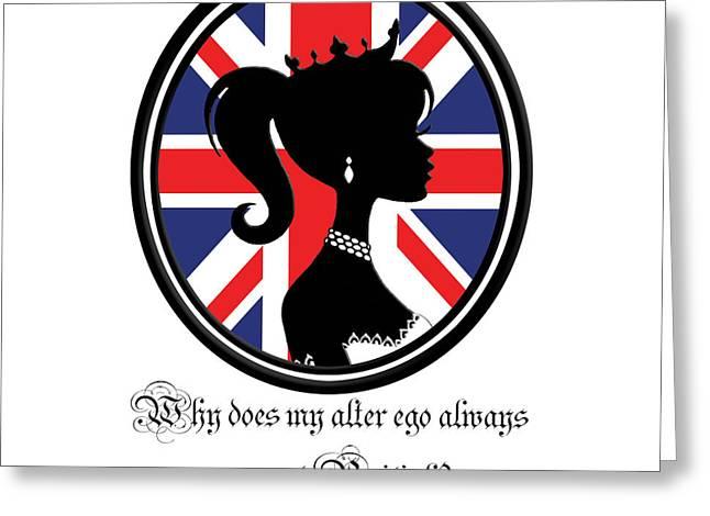 British Quote White Greeting Card by Amanda Schambon