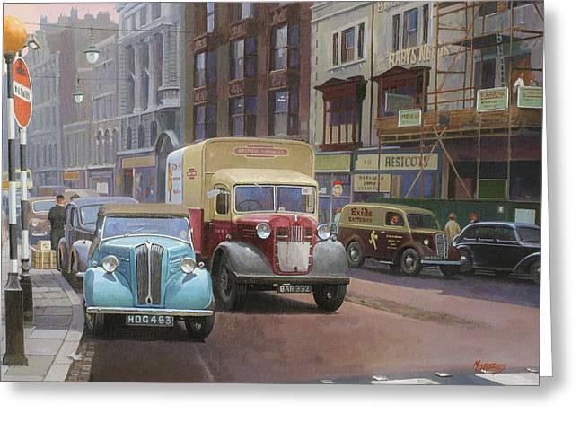 Streetscenes Paintings Greeting Cards - British Railways Austin K2 Greeting Card by Mike  Jeffries