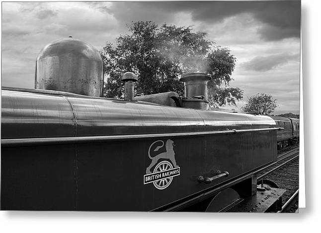 British Railways Steam Train Mono Greeting Card by Gill Billington