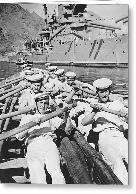 British Sailors Rowing Greeting Card by Underwood Archives