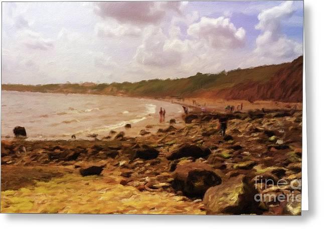 British Seashore, Filey Greeting Card