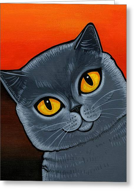 British Shorthair Greeting Card by Leanne Wilkes