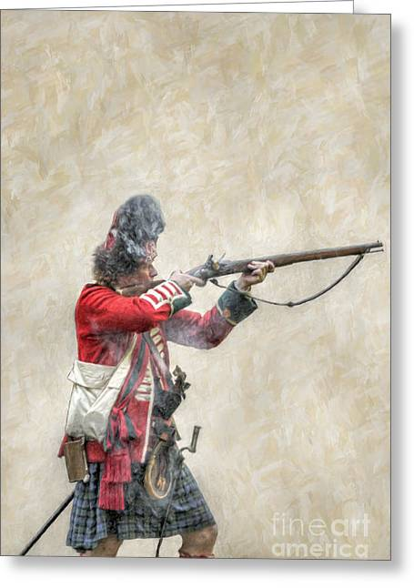 British Soldier Firing Musket Greeting Card