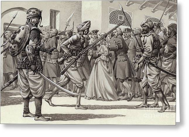 British Soldiers Are Forced Into The Black Hole Of Calcutta Greeting Card by Pat Nicolle