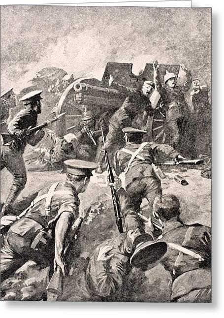 British Soldiers Bayonet Charge German Greeting Card