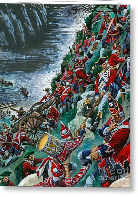 British Soldiers Make The Arduous Ascent Of The Heights Of Abraham To Take Quebec Greeting Card by Peter Jackson
