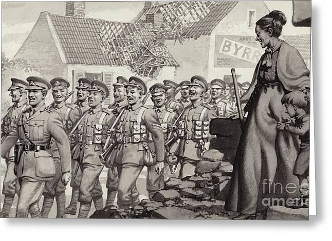 British Soldiers Marching Greeting Card by Pat Nicolle