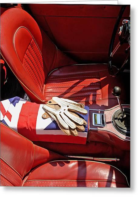 British Sports Car Interior Greeting Card by Norman Pogson
