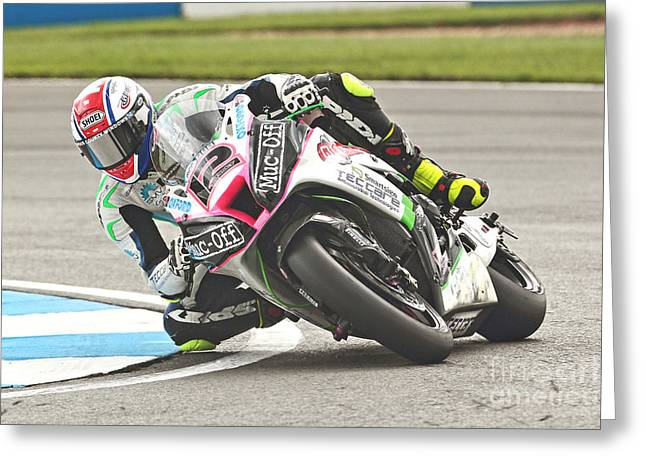 British Superbikes Greeting Card by Peter Hatter