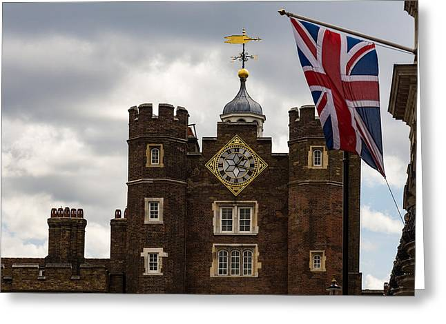 British Symbols And Landmarks - Union Jack And The Pearly Clock Greeting Card