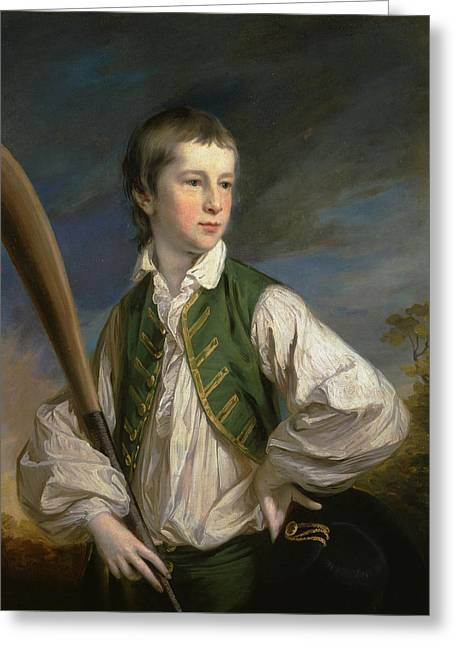 British Title Charles Collyer As A Boy  With A Cricket Bat Greeting Card by Francis