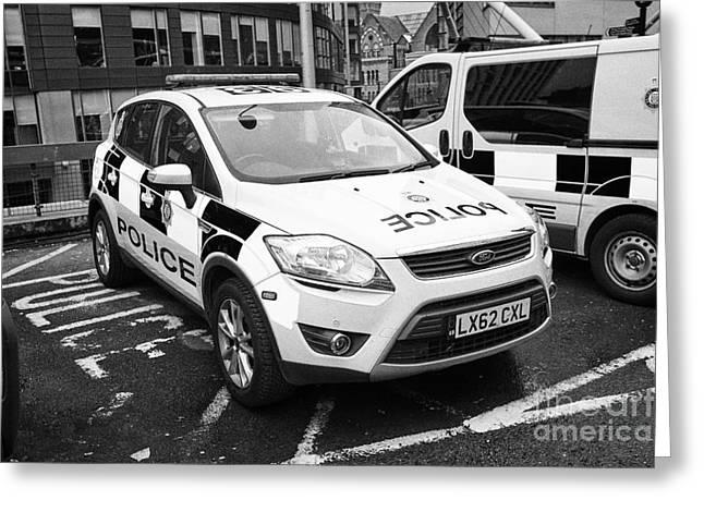 british transport police ford kuga and vehicles Manchester England UK Greeting Card