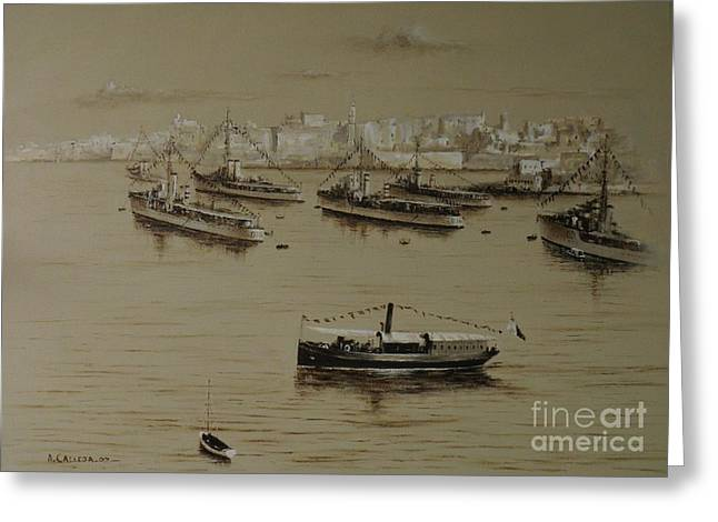 British Warships In Malta Harbour 1941 Greeting Card