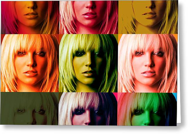 Britney Spears Greeting Cards - Britney Spears Bold Warhol by GBS Greeting Card by Anibal Diaz