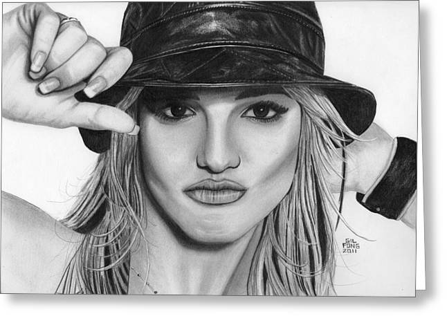 Britney Spears Greeting Card by Gil Fong