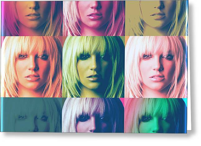 Britney Spears Greeting Cards - Britney Spears Pastel Warhol by GBS Greeting Card by Anibal Diaz