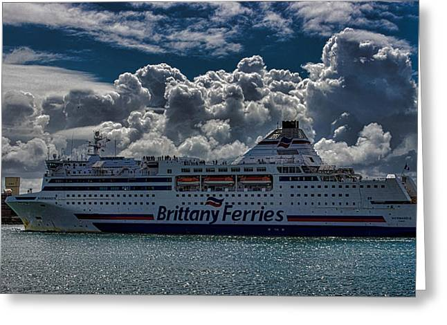 Brittany Ferry Greeting Card by Martin Newman
