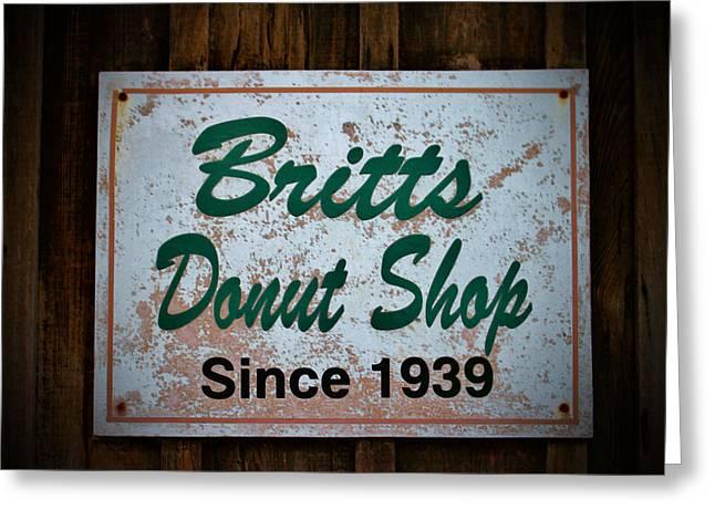 Britt's Donut Shop Sign 1 Greeting Card by Cynthia Guinn